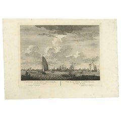 Antique Print with a View of Amsterdam from the IJ Dock by H. Schouten