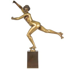 Nude Bronze Lady Rollerskating, Made by H. Calot, Art Deco