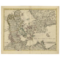 Antique Map of Denmark by Covens & Mortier, 1730