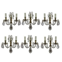 Set of Six French Gilt Brass and Glass Wall Sconces