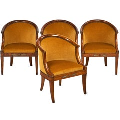 French Antique Empire Style Barrel Chairs