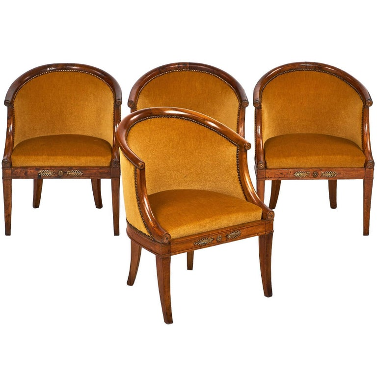 French Antique Empire Style Barrel Chairs 1 - French Antique Empire Style Barrel Chairs For Sale At 1stdibs