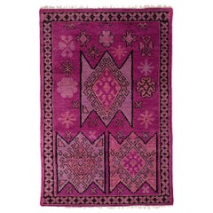 Aelfie Hand Knotted Turkish Inspired Lavender and Pink Wool Rug 5'x8'