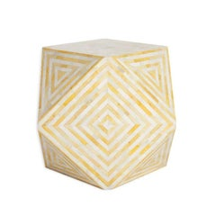 Aelife Modern Inlayed Bone Striped Mirah Geometric Cube Table Yellow