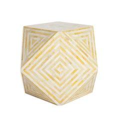 Aelife Modern Inlayed Bone Striped Mirah Geometric Cube Table Yellow