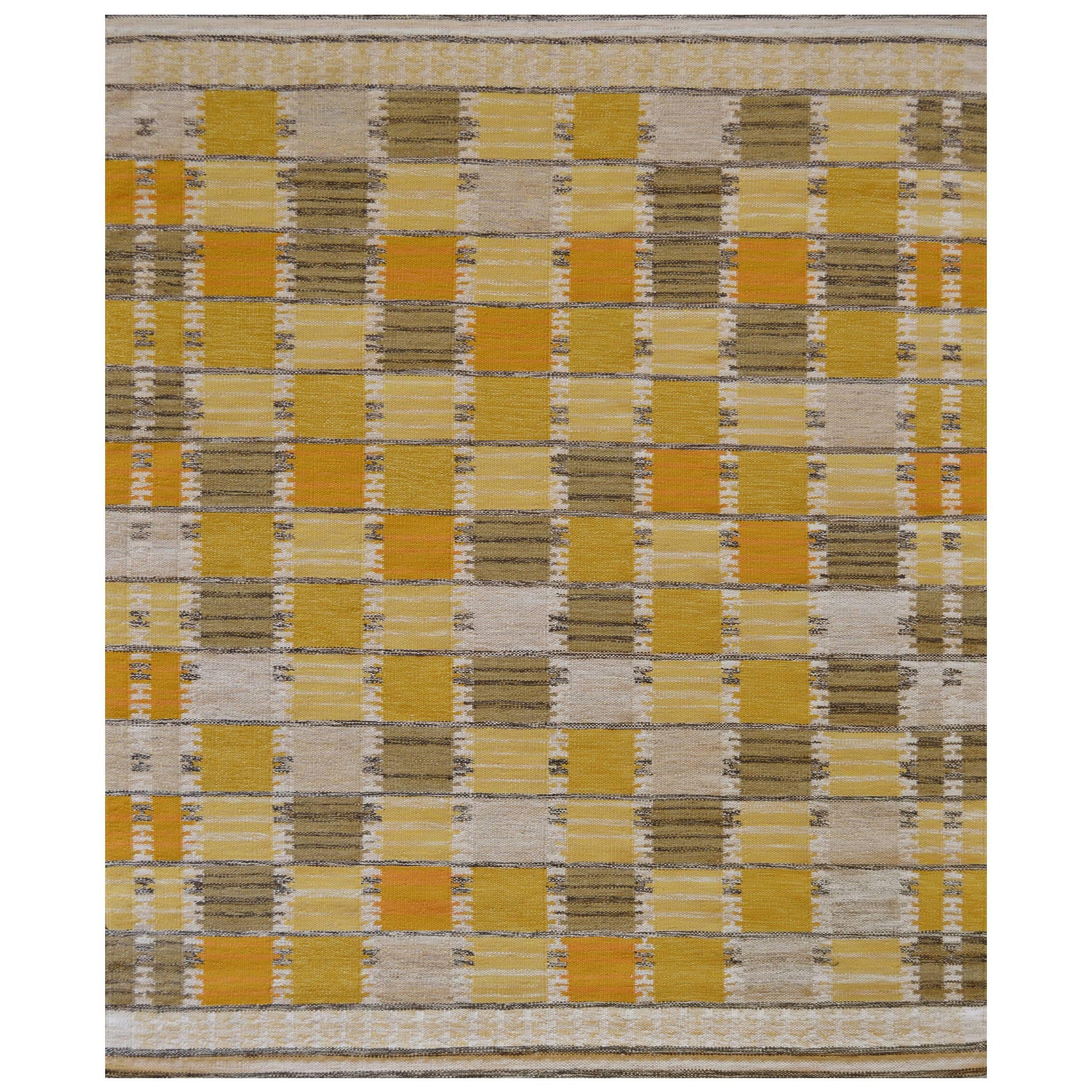 Mansour Modern Handwoven Swedish Inspired Flat-Weave Wool Rug