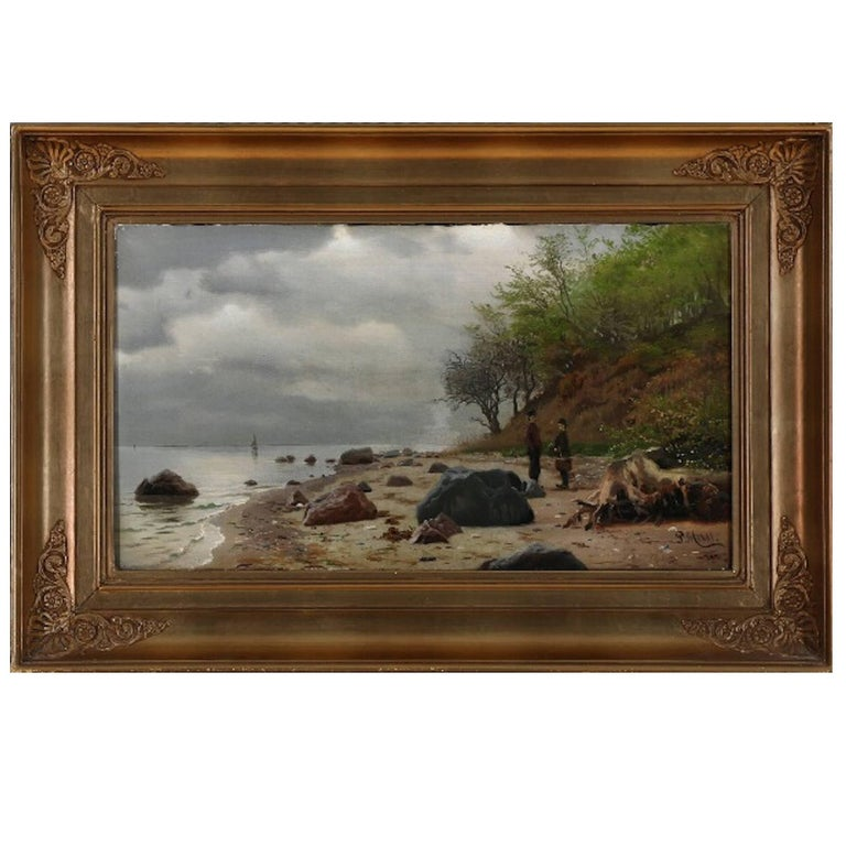 Peder Monsted, Coastal Scene with Two People on a Beach, Signed and Dated