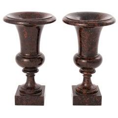 Pair of Jasper Neoclassical Urns