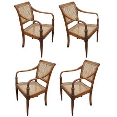 Vintage West Indies Style Woven Cane Chairs