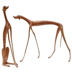 Brazilian Hand-Carved Wood Sculpture Dogs