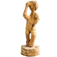 Brazilian Hand-Carved Wood Sculpture Arrocha Boy