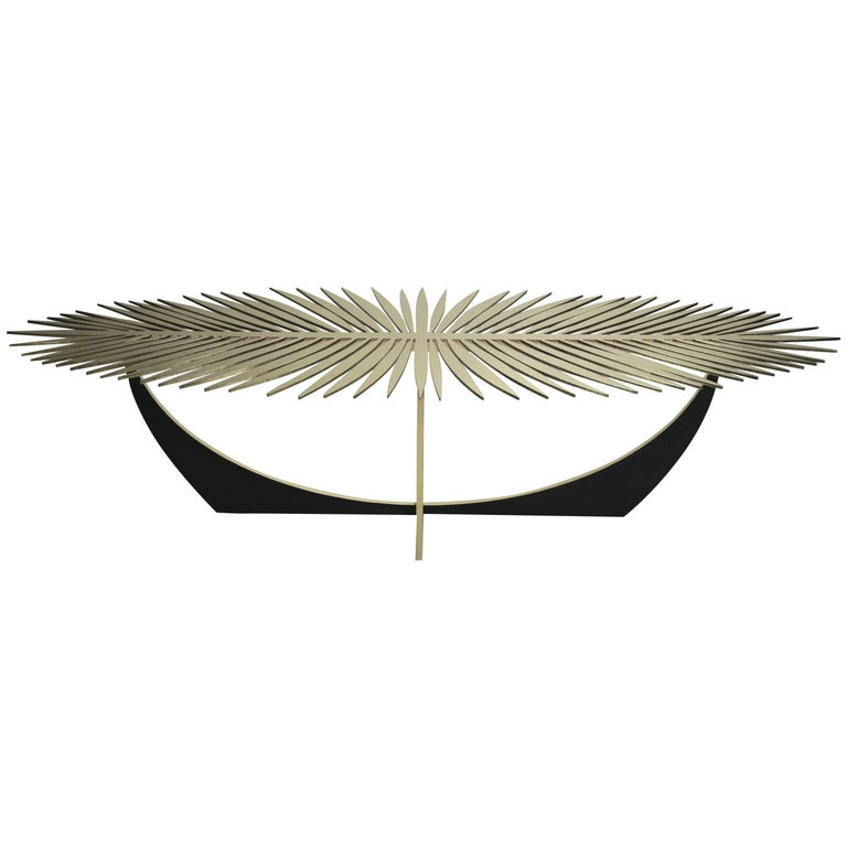 Double Frond Coffee Table in Solid Brass by Christopher Kreiling For Sale