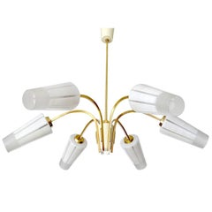 Large Austrian Sputnik Six Light Brass Glass Chandelier, Stilnovo Gio Ponti Era