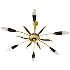 Large Austrian Sputnik Six Light Brass Glass Chandelier, Stilnovo Gio Ponti Era