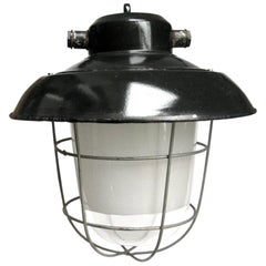 Black Enamel Semi Frosted Clear Glass Vintage Industrial Lamp Pendant