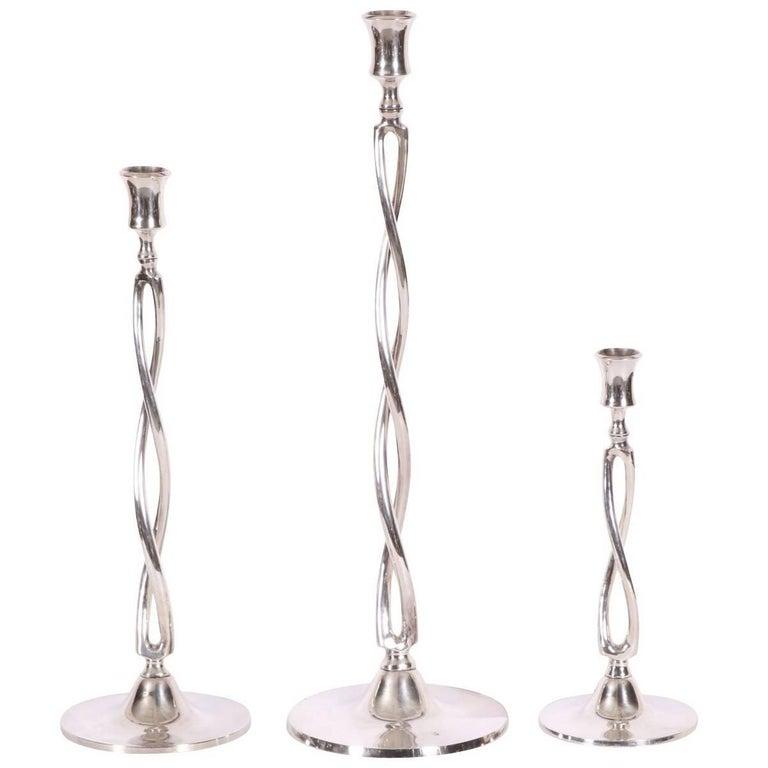 Set of Three Ralph Lauren Silver Plate Candlesticks