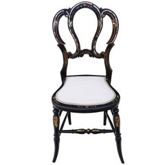 Antique Rare Victorian circa 1890 Mother-of-Pearl Inlaid Bedroom Side Chair