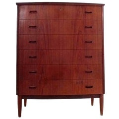 Danish Teak Bow Fronted Tallboy Chest of Drawers Midcentury, 1960s