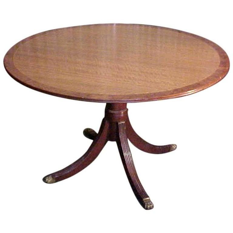George III Satinwood Burl Border Dining Table,Refined  19th Century, Provenance
