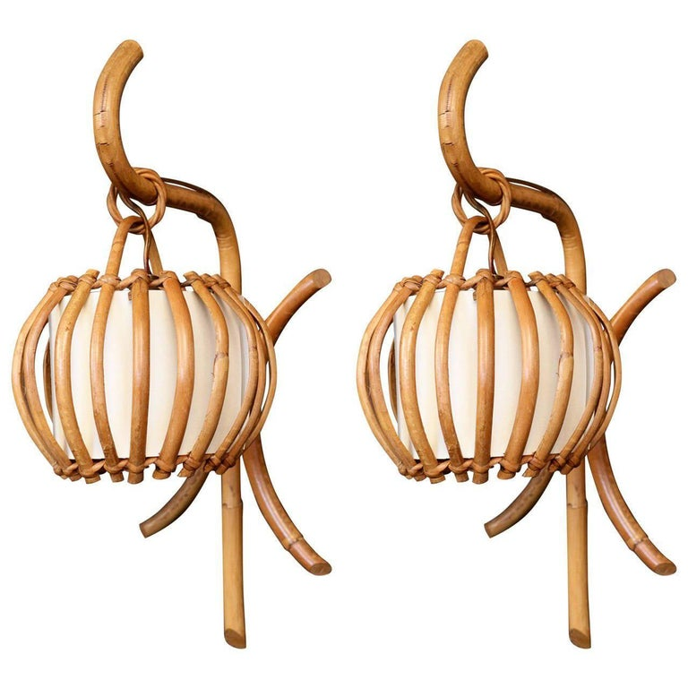 """Pair of 1960s Rattan """"Lantern"""" Sconces Attributed to Louis Sognot"""