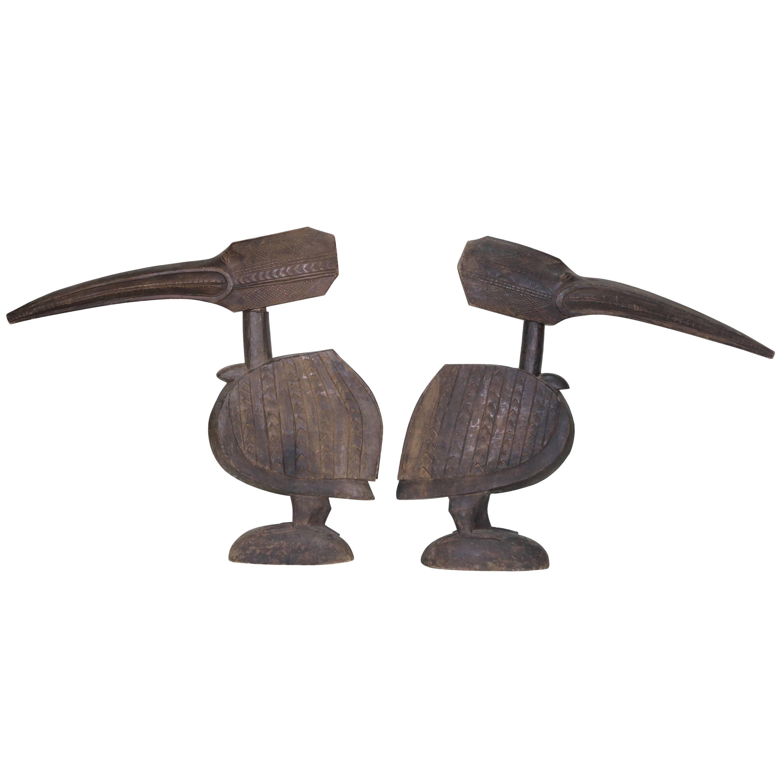 Huge Ethnographic Wood Carved Pair Bird Sculptures  Tycoon Provenance
