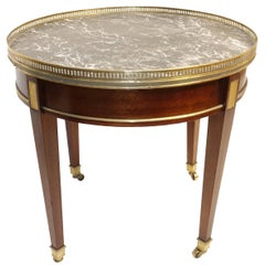 Louis XVI Style Mahogany Bouillotte Table with Marble Top, French, 19th Century
