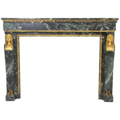 French Empire 19th Century Fireplace in Patricia Green Marble with Bronze