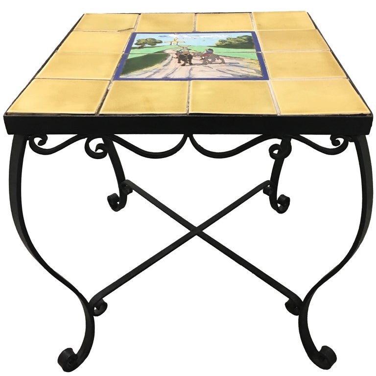 1930s Spanish Tile Top Wrought Iron Side Table For