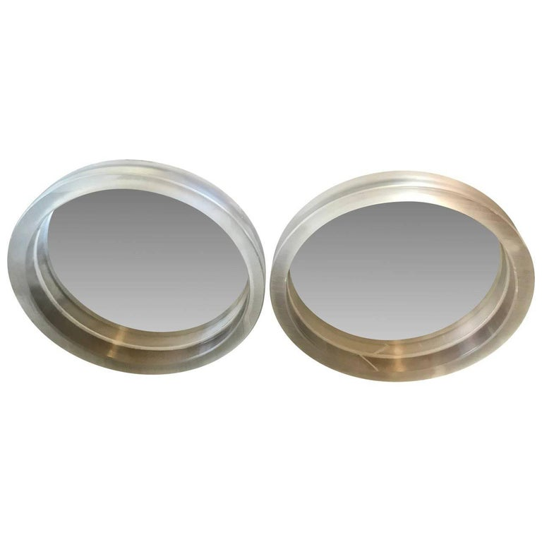 Pair of Large Modern Lucite Round Mirrors