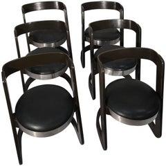 1970 Set of Six Wood and Faux Leather Dining Chairs Willy Rizzo for Mario Sabot