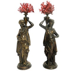 Grand Tour Neoclassical Pair of Bronze Depicting Ebe, Goddess of Youthfulness