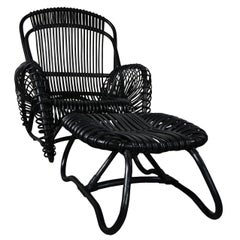 Black Rattan Set of Armchair with Ottoman and Side Table