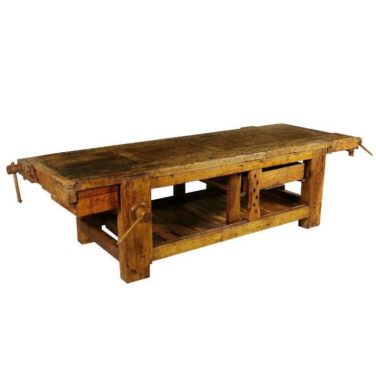 Carpenter Table Four Vises Oak Vintage Manufactured in Italy, 1930s