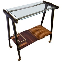 Vintage Electrified Bar Cart or Trolley, Attributed to Cesare Lacca, Italy 1960s