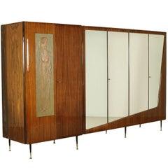 Wardrobe Rosewood Veneer Mirrors Decorative Wood Vintage, 1950s-1960s