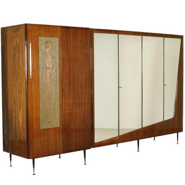 Wardrobe Rosewood Veneer Mirrors Decorative Wood Vintage, 1950s-1960s For Sale