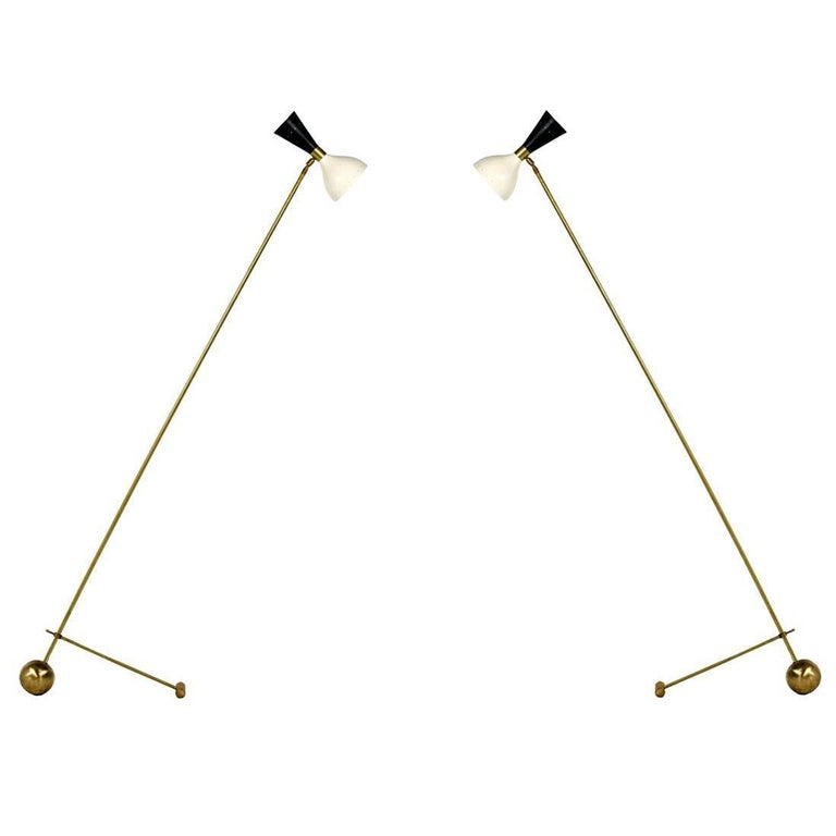 1 of 2 Beautiful Adjustable Italian Minimalist Floor Lamp Brass Stilnovo Style