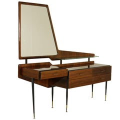Chest of Drawers with Dressing Table Rosewood Veneer Vintage Italy 1950s-1960s