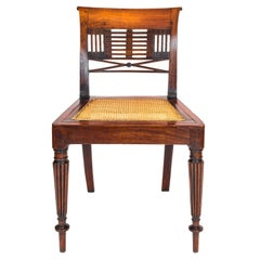 19th Century English Colonial Regency Padouk Reeded Leg Side or Desk Chair