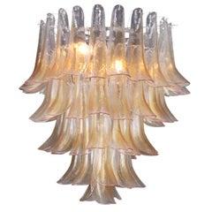 Calle 1970s Amber Murano Glass Five-Tier Chandelier