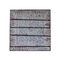 Vintage South Asian Architectural Panel on Polished Oak Backing