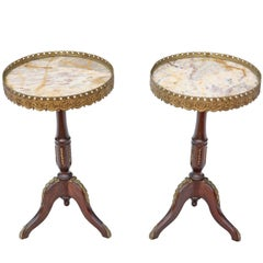 Antique Pair of Georgian Regency Revival Beech and Marble Wine Tables Side