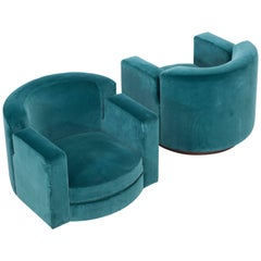 Pair of Luciano Frigerio Blue Velvet Lounge Swivel Chairs