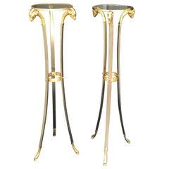 Pair of 20th Century Rams Head/Hoof Italian Neoclassical Steel & Brass Torcheres