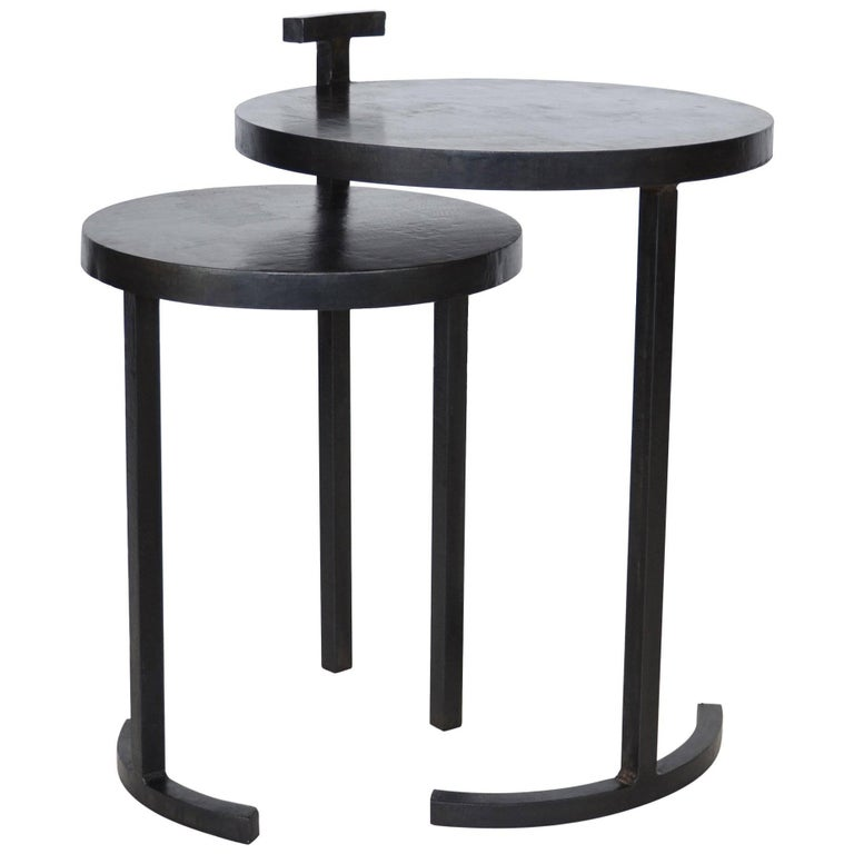 Nesting Side Table Set Modern Round Pair End Table Cast Blackened Waxed Steel For Sale