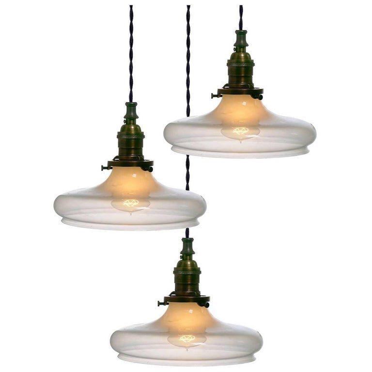 Elegant Vaseline Glass Pendants For Sale