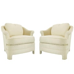 Pair of Henredon Asian Influenced Armchairs and Ottoman