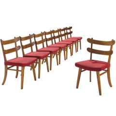 Set of Eight Danish Solid Elm Chairs