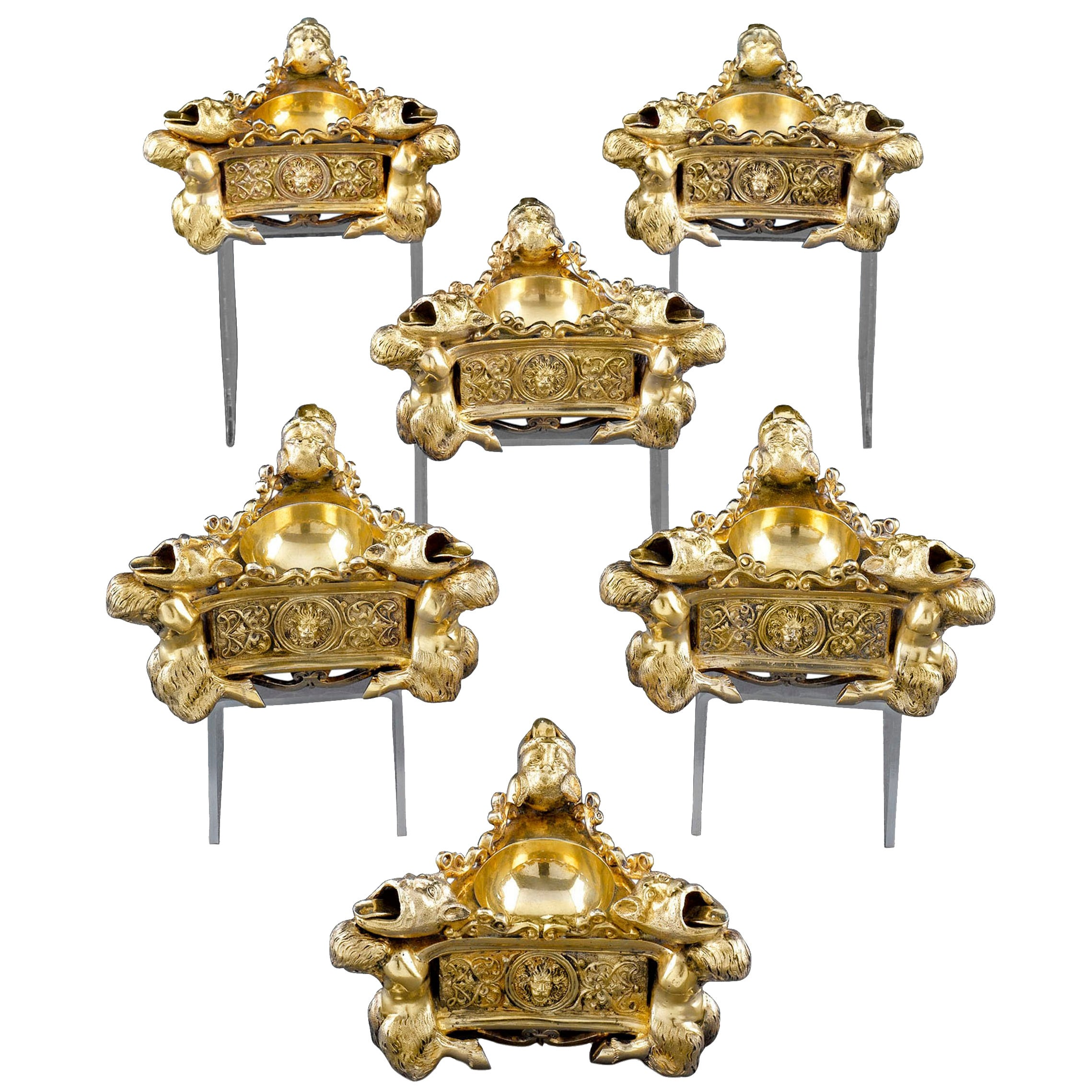 Continental Silver Gilt Salt Cellars
