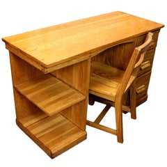 Vintage Mid-Century Modern Ranch Oak Desk and Matching Chair by Brandt